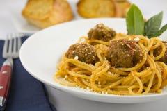Spagetti och meatballs Arkivfoto