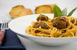Spagetti och meatballs Royaltyfria Bilder