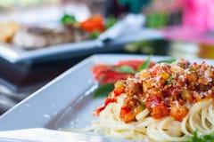 Spagetti- och tomatsås Royaltyfria Foton