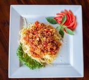 Spagetti- och tomatsås Fotografering för Bildbyråer