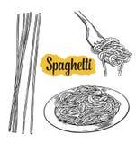 Spagetti på gaffel och plattan Illustration för vektortappningsvart på vit bakgrund stock illustrationer