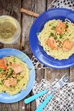 Spagetti with salmon Stock Photos