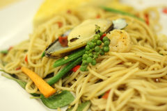 Spagetti seafood Royalty Free Stock Images