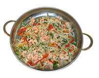 Spagetti with shrimps and vegetables Royalty Free Stock Photo