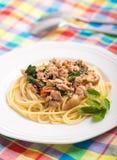 Spagetti som överträffas med stekt under omrörning griskött royaltyfria foton