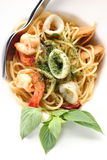 Spagetti spicy seafood. Get a tantalizing taste Royalty Free Stock Photos