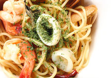 Spagetti spicy seafood. Get a tantalizing taste Stock Images