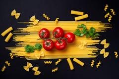 Spagetti, tomater på en filial och persilja på en filial på en bla Arkivbild