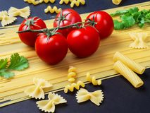 Spagetti, tomater på en filial och persilja på en filial på en bla Royaltyfri Fotografi