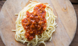 Spagettiketchup Arkivbild