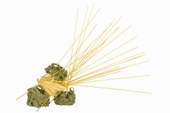 (spagettine)被隔绝的Tagliatelle和意粉 图库摄影