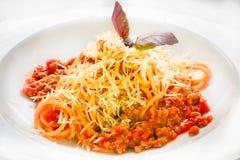 Spagettipasta med köttbullar och tomatsås, selektiv fokus royaltyfri bild