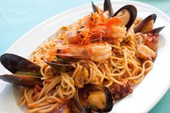 Spagetty Seafood Meal Royalty Free Stock Images