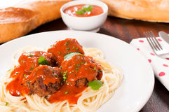 Spageyyi and meat Royalty Free Stock Photography