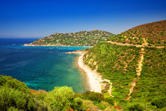 Spaggia di Genne Mari beach on Sardinia Island. Royalty Free Stock Photography