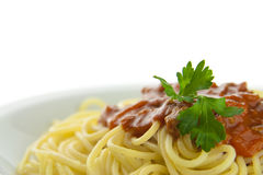 Spagheti bolognese 2. Spagheti bolognese on a white plate, white background Stock Images
