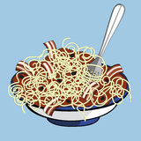 Spaghetti. A delicious plate of spaghetti with tomato sauce, bacon and black olives Royalty Free Stock Photography
