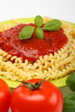 Spaghetti. With basil and tomatoes close up Royalty Free Stock Images