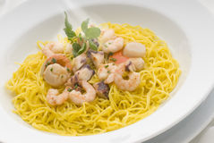 Spaghetti. Pasta with seafood sauce and herbs Stock Images