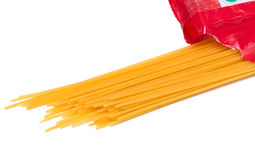 Spaghetti. Dry spaghetti. Isolated over white background Royalty Free Stock Photography