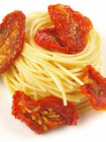 Spaghetti. With sun dried tomatoes Royalty Free Stock Image