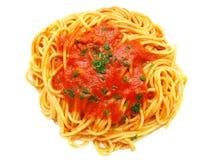 Spaghetti. Italian spaghetti with tomato and parsley isolated Stock Image