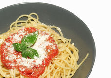 Spaghetti. Freshly cooked plate of spaghetti with tomatoes and basil royalty free stock photos