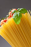 Spaghetti. Close up of basic ingredients for italian pasta Stock Image