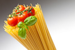 Spaghetti. Close up of basic ingredients for italian pasta Royalty Free Stock Photography