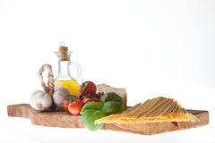 Spaghetti. Arrangement of the basic ingredients for the real italian spaghetti Stock Photo
