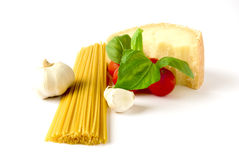Spaghetti. With tomatoes, garlic and basil Royalty Free Stock Photography
