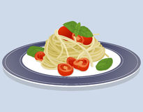 Spaghetti. Dish isolated on blue background with spaghetti pasta, tomatoes and basil Stock Photo