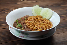 Spaghetti. A bowl of mince meat with spaghetti Royalty Free Stock Images