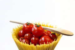 Spaghetti. Mediterranean cooking with pasta and ingredients stock photography