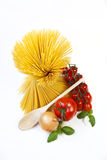 Spaghetti. Mediterranean cooking with pasta and ingredients royalty free stock images