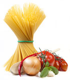 Spaghetti. Mediterranean cooking with pasta and ingredients royalty free stock image