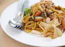 Spaghetti. Italian food spaghetti with pork and vegetables royalty free stock photos