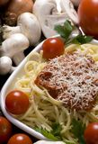 Spaghetti 3. Fresh spaghetti and sauce, surrounded by all the ingredients Royalty Free Stock Image