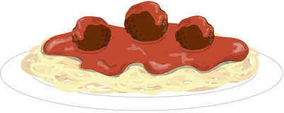 Spaghetti. Illustration of a plate of spaghetti and meatballs Royalty Free Stock Photos