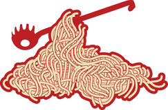 Spaghetti. Vector drawing: spaghetti with ketchup and spaghetti fork Stock Images