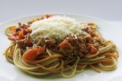 Spaghetti. With meat and cheese Royalty Free Stock Image