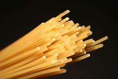 Spaghetti. Closeup on a black background stock photo