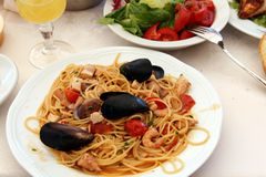 Spaghetti. With seafood on a plate Royalty Free Stock Photography
