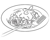 Spaghetti. Illustration of a plate of spaghetti in black and white. Also available in color version Royalty Free Stock Photo