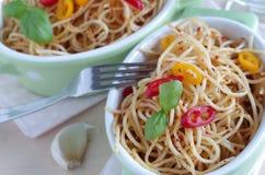 Spaghetti aglio e olio e peperoncino Fotografia Stock