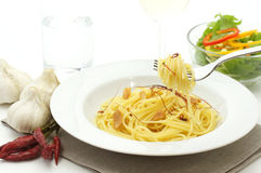 Spaghetti aglio olio e peperoncino Royalty Free Stock Photography