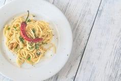 Spaghetti aglio olio e peperoncino Obrazy Stock
