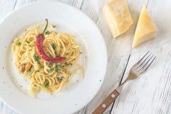 Spaghetti aglio olio e peperoncino Fotografia Royalty Free