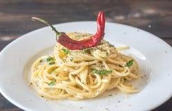 Spaghetti aglio olio e peperoncino. Portion of spaghetti aglio olio e peperoncino Royalty Free Stock Photos