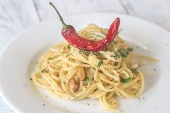 Spaghetti aglio olio e peperoncino. Portion of spaghetti aglio olio e peperoncino Royalty Free Stock Photography